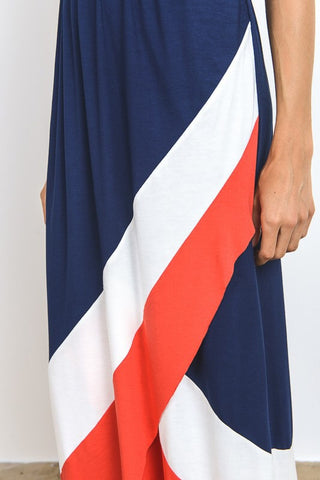 Greek Goddess Maxi Dress - Red and Navy