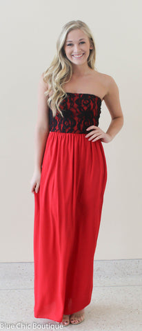 Beautiful in Lace Maxi Dress - Red and Black - Blue Chic Boutique  - 1