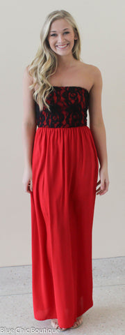 Beautiful in Lace Maxi Dress - Red and Black - Blue Chic Boutique  - 3
