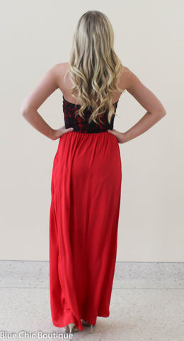 Beautiful in Lace Maxi Dress - Red and Black - Blue Chic Boutique  - 4