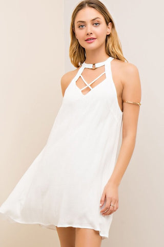 Halter Criss Cross Dress - Ivory