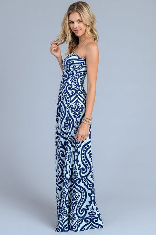 Damask Print Strapless Maxi Dress - Navy and Mint