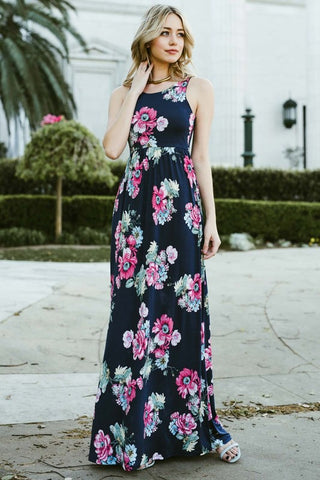 Garden Party Maxi Dress - Navy Tropical Flowers