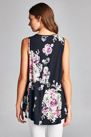 Burst into Bloom Floral Tank Top - Black