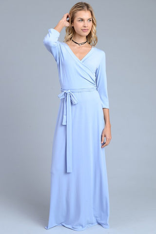 Solid 3/4 Maxi Dress - Baby Blue