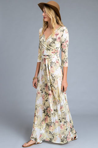 Floral 3/4 Sleeve Maxi Dress - Yellow