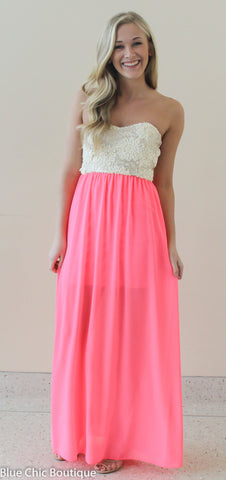 Subtle Sparkle Maxi Dress - Neon Pink - Blue Chic Boutique  - 2