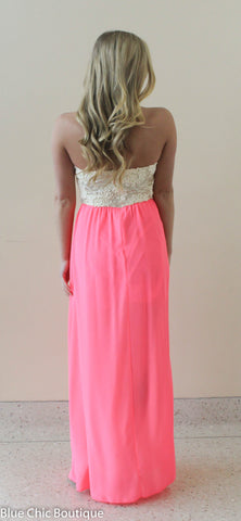 Subtle Sparkle Maxi Dress - Neon Pink - Blue Chic Boutique  - 5
