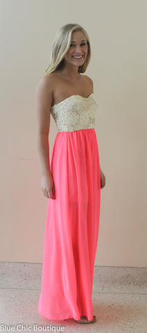 Subtle Sparkle Maxi Dress - Neon Pink - Blue Chic Boutique  - 6