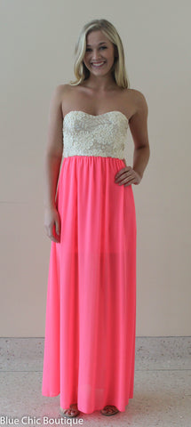 Subtle Sparkle Maxi Dress - Neon Pink - Blue Chic Boutique  - 7