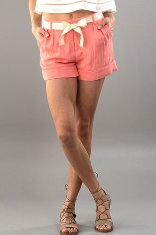 Bow Tie Shorts - Coral