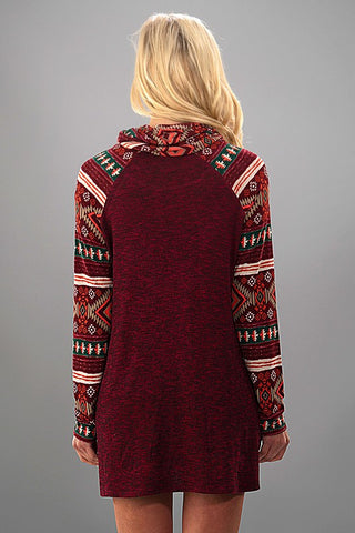 Cowl  Neck Deer Print Dress - Burgundy - Blue Chic Boutique  - 2
