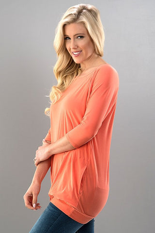 Relaxing Weekend Tunic with Pockets - Coral
