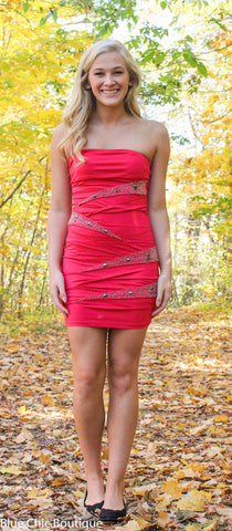 Strapless Stunner Dress - Hot Pink - Blue Chic Boutique - 2