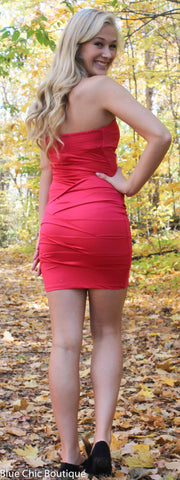 Strapless Stunner Dress - Hot Pink - Blue Chic Boutique  - 5
