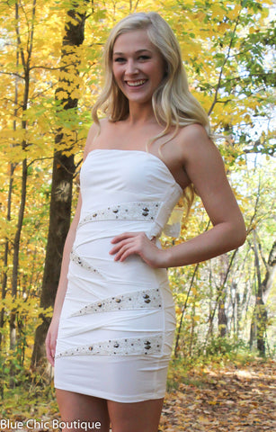 Strapless Stunner Dress - White - Blue Chic Boutique  - 3