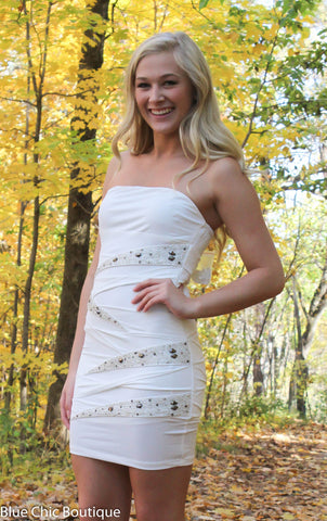 Strapless Stunner Dress - White - Blue Chic Boutique  - 2