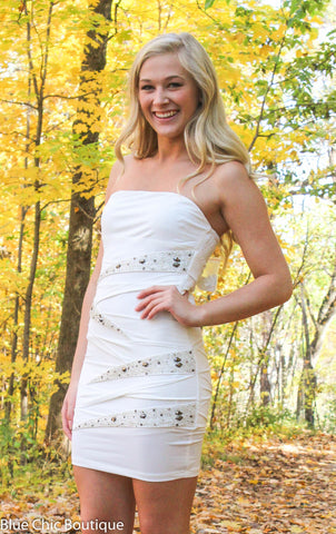 Strapless Stunner Dress - White - Blue Chic Boutique  - 1