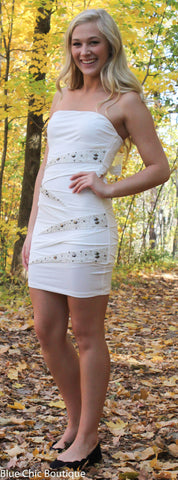 Strapless Stunner Dress - White - Blue Chic Boutique  - 6