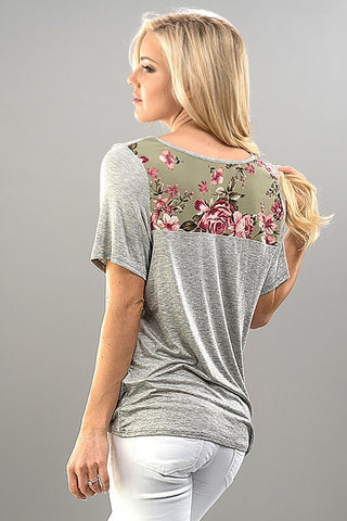 Floral Detail Knit Top - Gray