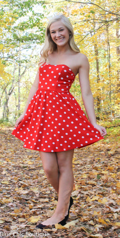 Polka Dot Strapless Dress - Red - Blue Chic Boutique  - 1