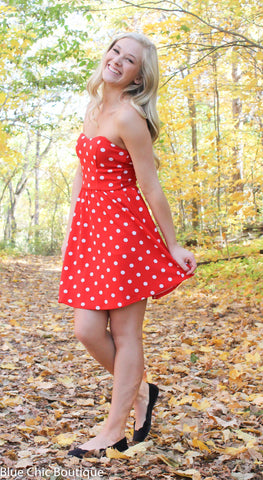 Polka Dot Strapless Dress - Red - Blue Chic Boutique  - 2