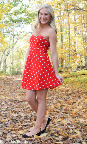 Polka Dot Strapless Dress - Red - Blue Chic Boutique  - 3
