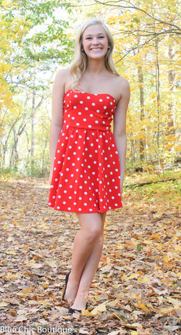 Polka Dot Strapless Dress - Red - Blue Chic Boutique  - 5