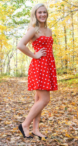 Polka Dot Strapless Dress - Red - Blue Chic Boutique  - 6