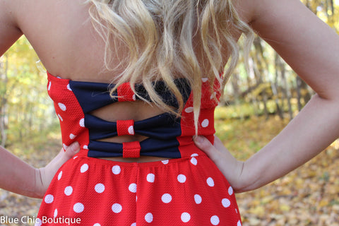 Polka Dot Strapless Dress - Red - Blue Chic Boutique  - 4