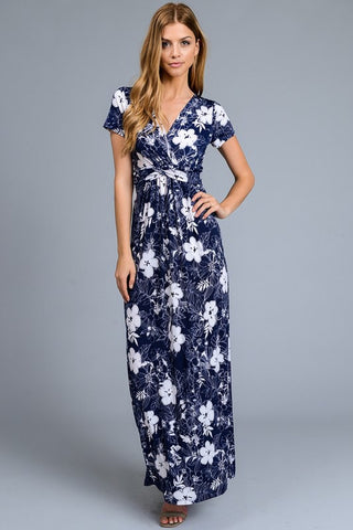 Navy and White Floral Maxi