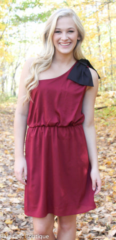 Top it off with a Bow One Shouldered Dress - Maroon and Black - Blue Chic Boutique  - 1