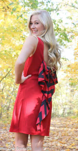Chevron Sleeveless Bow Back Dress - Red - Blue Chic Boutique  - 1