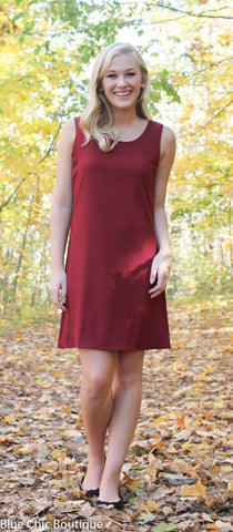 Chevron Sleeveless Bow Back Dress - Burgundy - Blue Chic Boutique  - 5