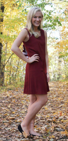 Chevron Sleeveless Bow Back Dress - Burgundy - Blue Chic Boutique  - 6