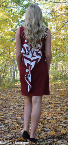 Chevron Sleeveless Bow Back Dress - Burgundy - Blue Chic Boutique  - 10