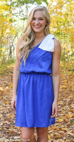 Top it off with a Bow One Shouldered Dress - Royal Blue and Ivory - Blue Chic Boutique  - 1