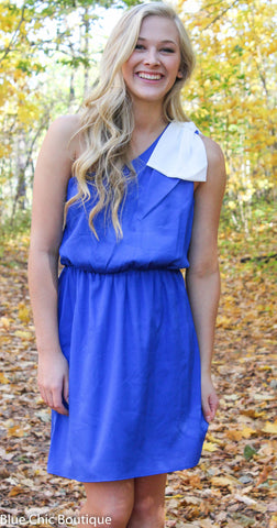 Top it off with a Bow One Shouldered Dress - Royal Blue and Ivory - Blue Chic Boutique  - 5
