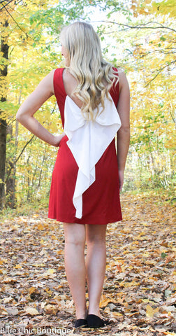 Maroon and White Bow Back Tunic Dress - Blue Chic Boutique  - 3