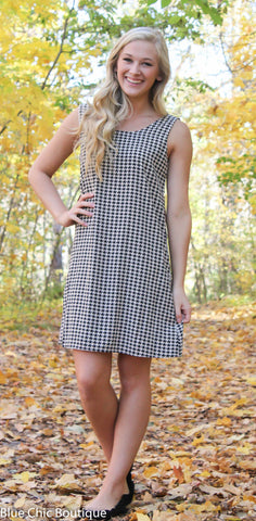 Houndstooth Bow Back Dress - Blue Chic Boutique  - 3