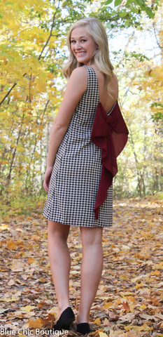Houndstooth Bow Back Dress - Blue Chic Boutique  - 2