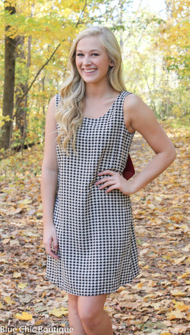 Houndstooth Bow Back Dress - Blue Chic Boutique  - 5