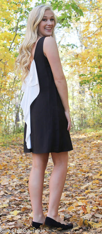 Black and White Bow Back Tunic Dress - Blue Chic Boutique  - 5