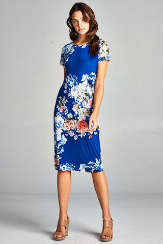 Midi Floral Dress - Light Blue