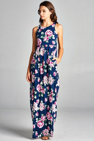 Garden Party Maxi Dress - Navy with Lavender Flowers