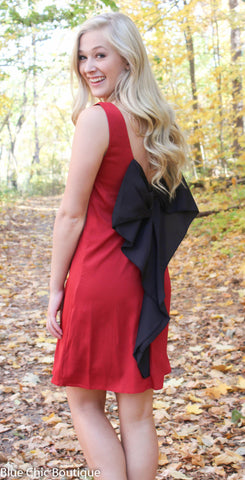 Maroon and Black Bow Back Tunic Dress - Blue Chic Boutique  - 1