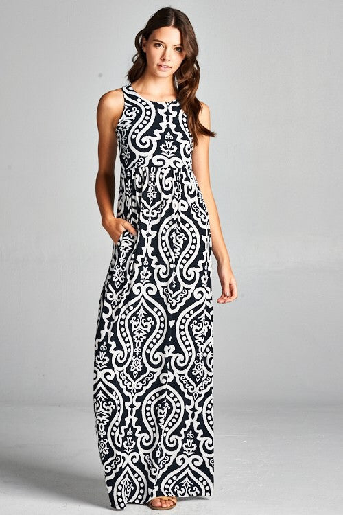 7eb6a483787 Garden Party Maxi Dress - Black and White Damask | Blue Chic Boutique