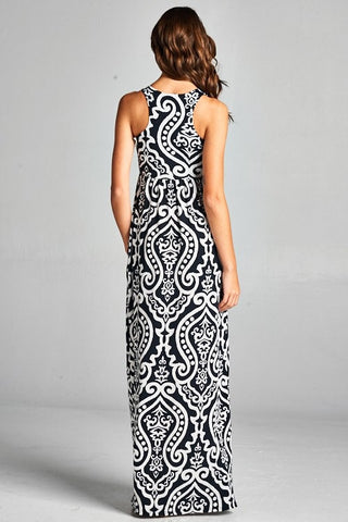 Garden Party Maxi Dress - Black and White Damask