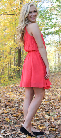 Red Dress with Rhinestone Detail - Blue Chic Boutique  - 6