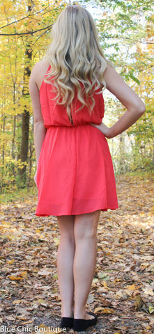 Red Dress with Rhinestone Detail - Blue Chic Boutique  - 4